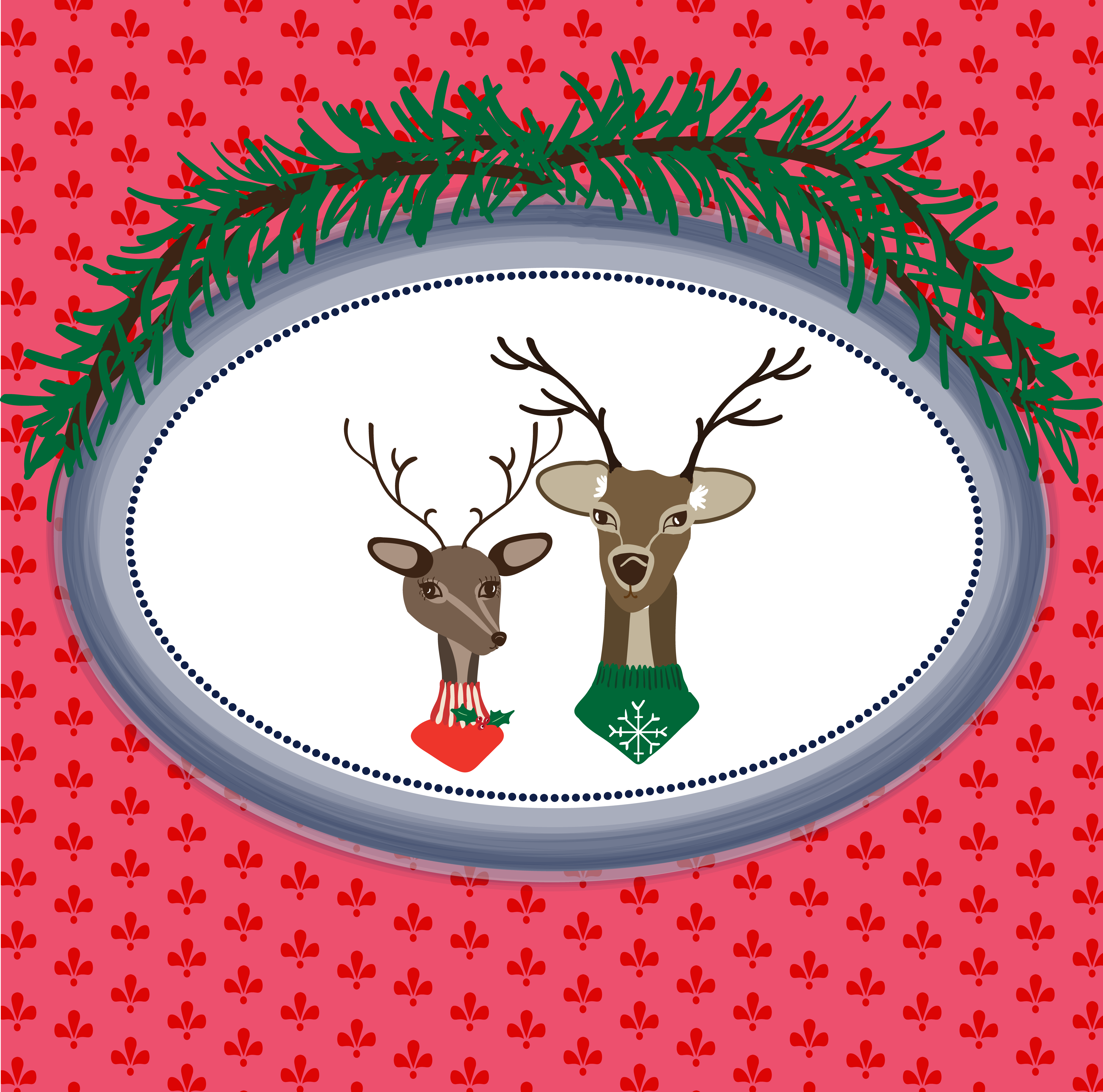 Deer Family Holiday Portrait